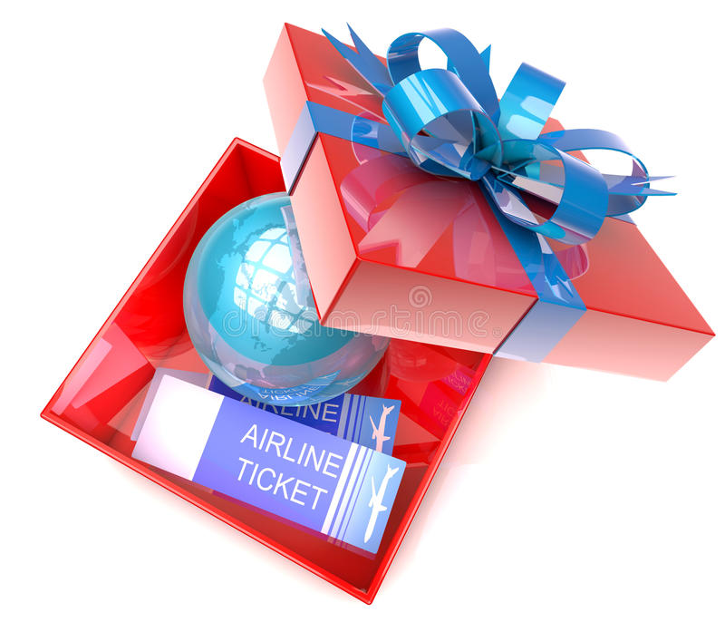Gift box with planet earth inside and airplane tickets. 3d illustration of gift box with planet earth inside and airplane tickets, concept for travel, tourism stock illustration