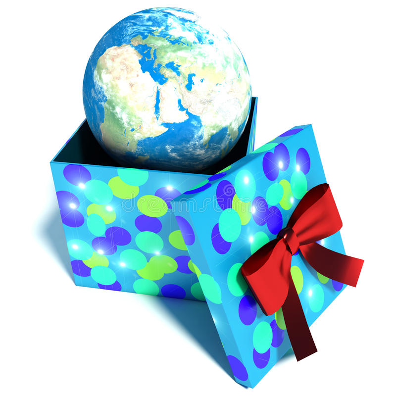 gift box with planet earth inside, concept for travel. 3d illustration royalty free illustration