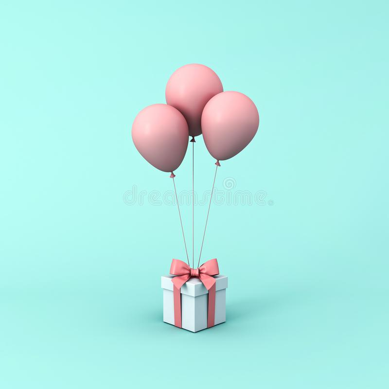 Gift box or present box with pink pastel color balloons isolated on light green blue pastel color background royalty free stock photography