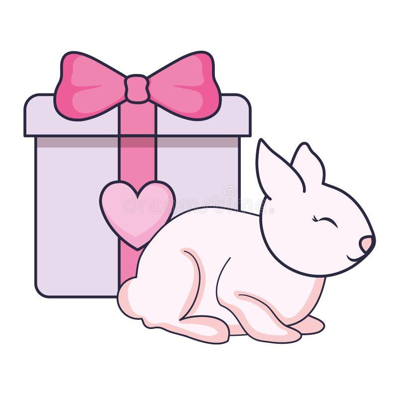 Gift box present with rabbit vector illustration