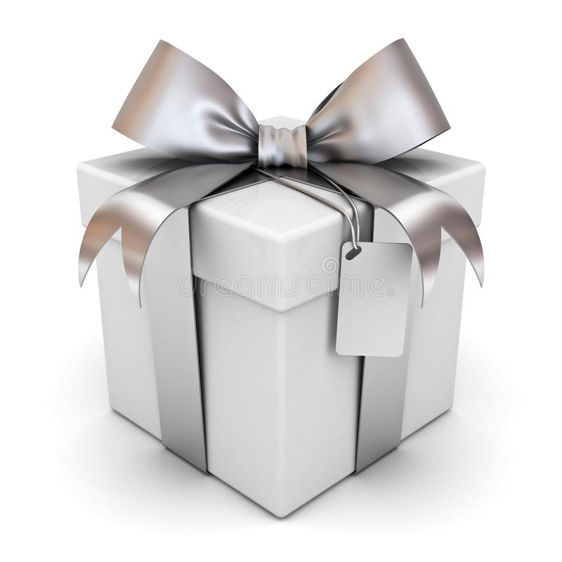 Gift box or present box with silver ribbon bow and blank tag isolated on white background. With shadow . 3D rendering stock illustration