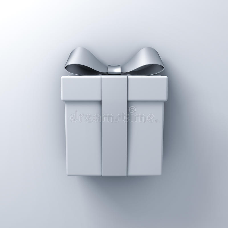 Gift box present with silver ribbon bow on white wall background with shadow. 3D rendering vector illustration