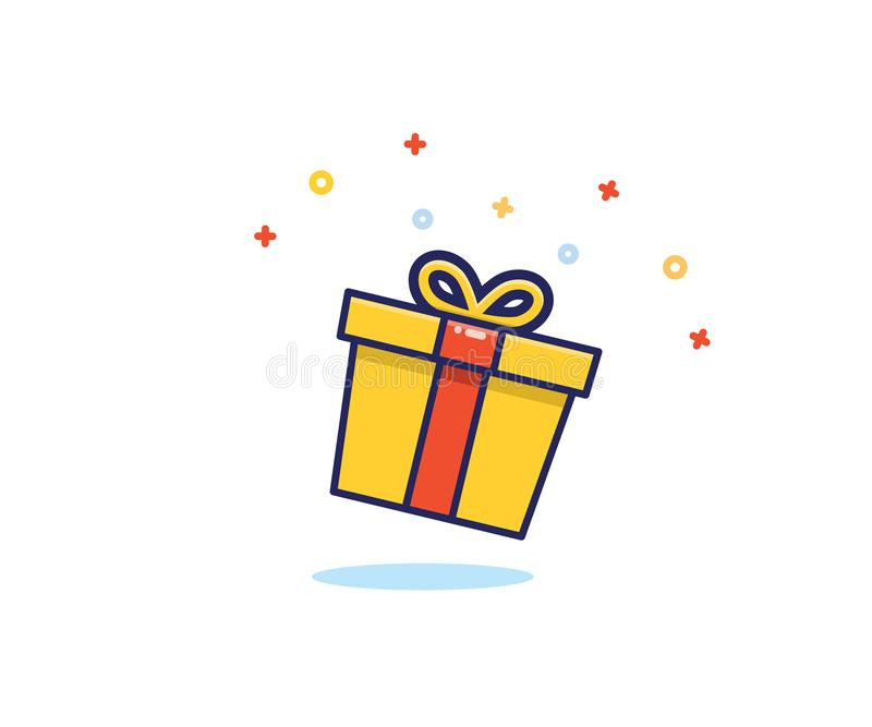Gift box with prizes exploding with sparkles and confetti. Vector flat icon illustration for birthday, christmas, promotions, vector illustration