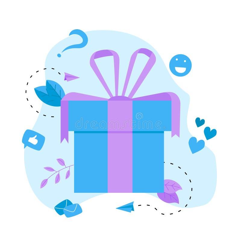 Gift box. Promotion of online store or shop loyalty program and bonus. Vector illustration for advertisement. stock illustration