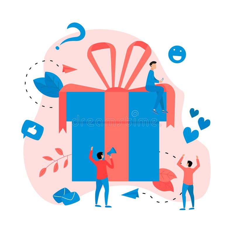 Gift box. Promotion of online store or shop loyalty program and bonus. Vector illustration for advertisement stock illustration