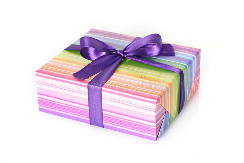 Download Gift Box With Purple Ribbon Stock Image - Image: 28168643