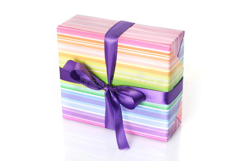 Download Gift Box With Purple Ribbon Stock Image - Image: 28168671