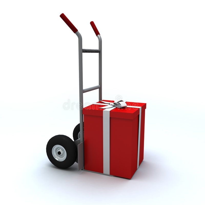 Gift box in push cart stock illustration