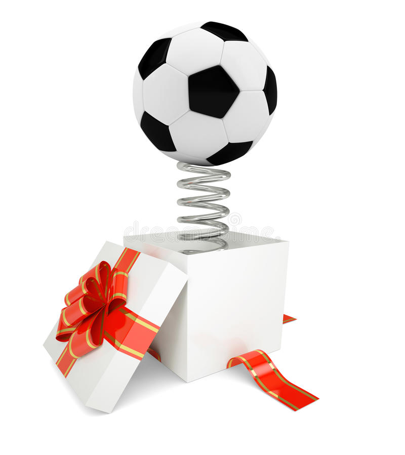 Gift box with red band and soccer ball stock illustration