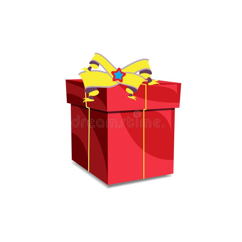 Gift box Red big box with shadows and dots halftone Classic Christmas red box. Is a general illustration stock illustration