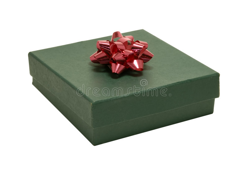Gift Box With Red Bow Stock Photos