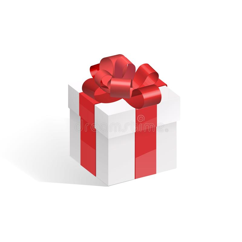 Gift box with red bow isolated on white background. royalty free illustration