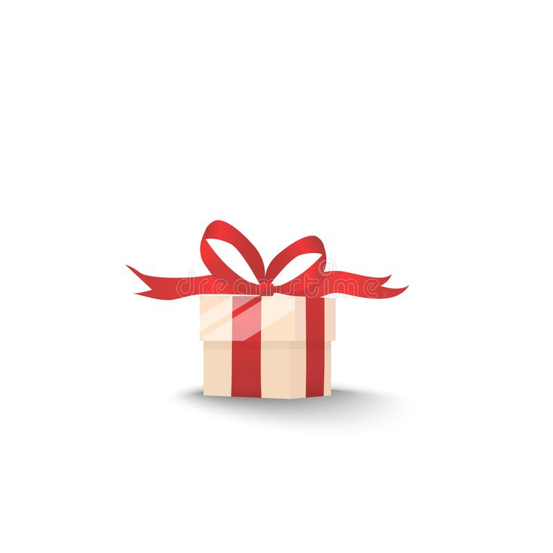 Gift box with red bow and ribbon with shadow isolated stock illustration