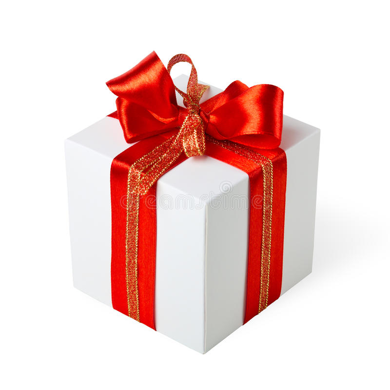 Download Gift box with red ribbon stock image. Image of luxury - 26693951
