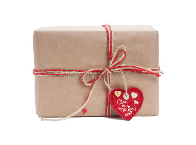 Download Gift box with red ribbon stock image. Image of heart - 28390905