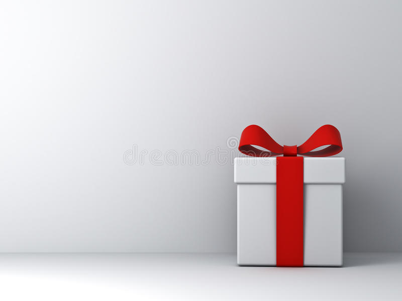 Gift box with red ribbon bow and empty white wall background abstract. 3D rendering royalty free illustration