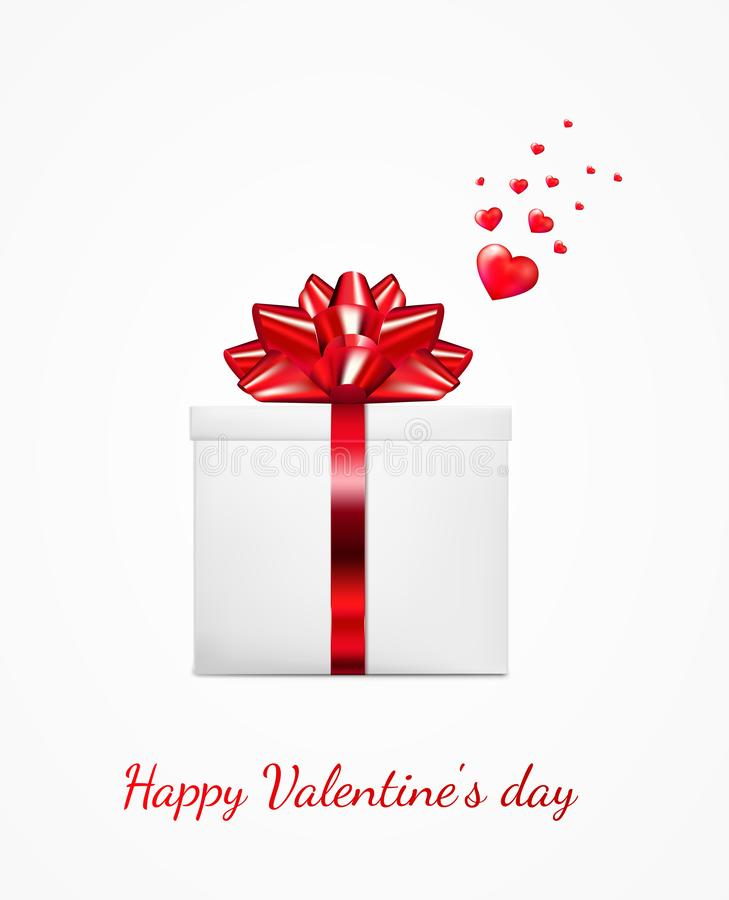 Gift box with red ribbon and bow. Happy Valentine`s day greeting card.  vector illustration