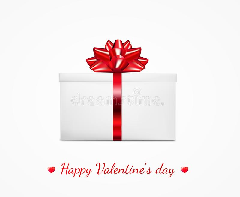 Gift box with red ribbon and bow. Happy Valentine`s day greeting card.  stock illustration