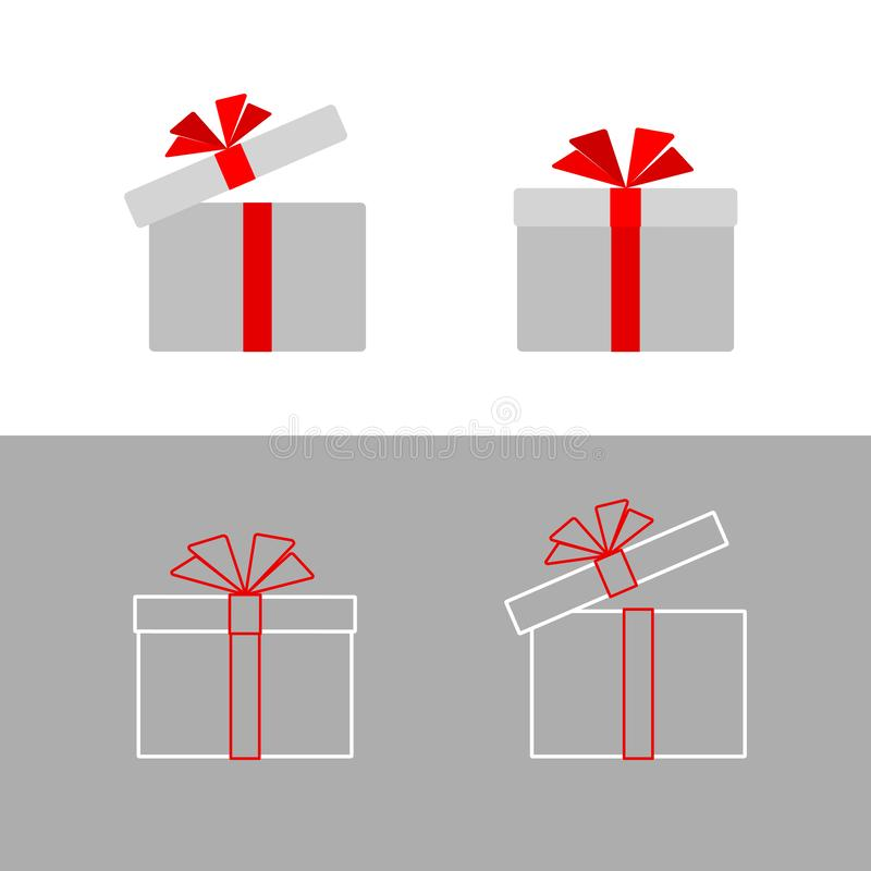 Gift box with a red ribbon bow Isolated Simple flat gift box icon from line of strip Design element advertising greeting card. For Birthday Christmas New Year royalty free illustration