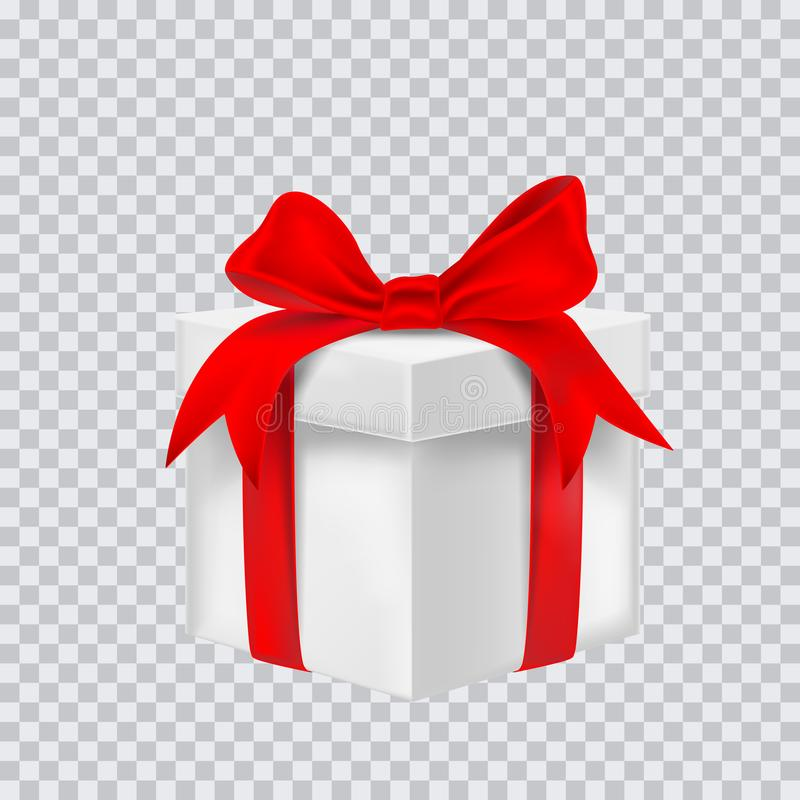 Gift box with red ribbon. Vector illustration royalty free illustration