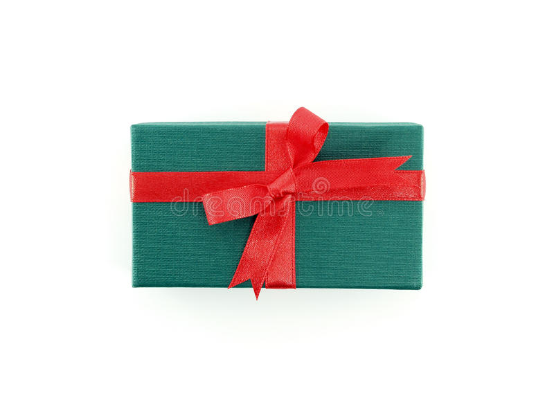 small green gift box with red ribbon bow isolated on white background stock images