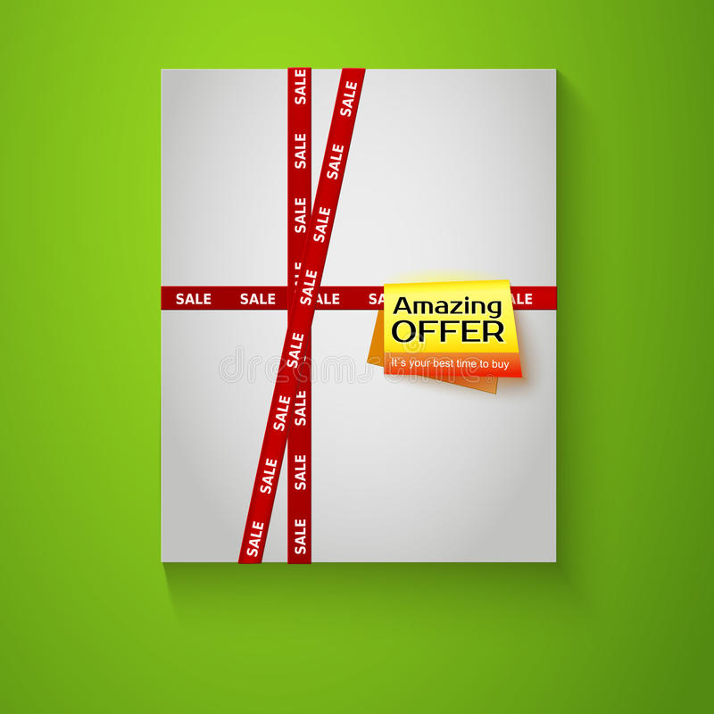 Gift Box With Red Sale Tape On Green Background. Royalty Free Stock Image