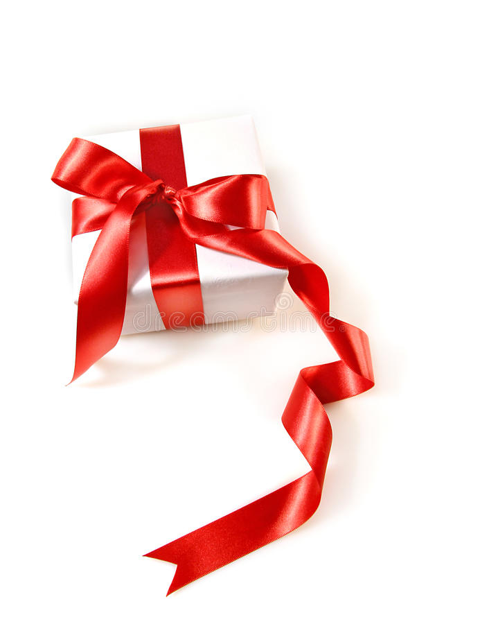 Gift Box  With Red Satin Ribbon Royalty Free Stock Images