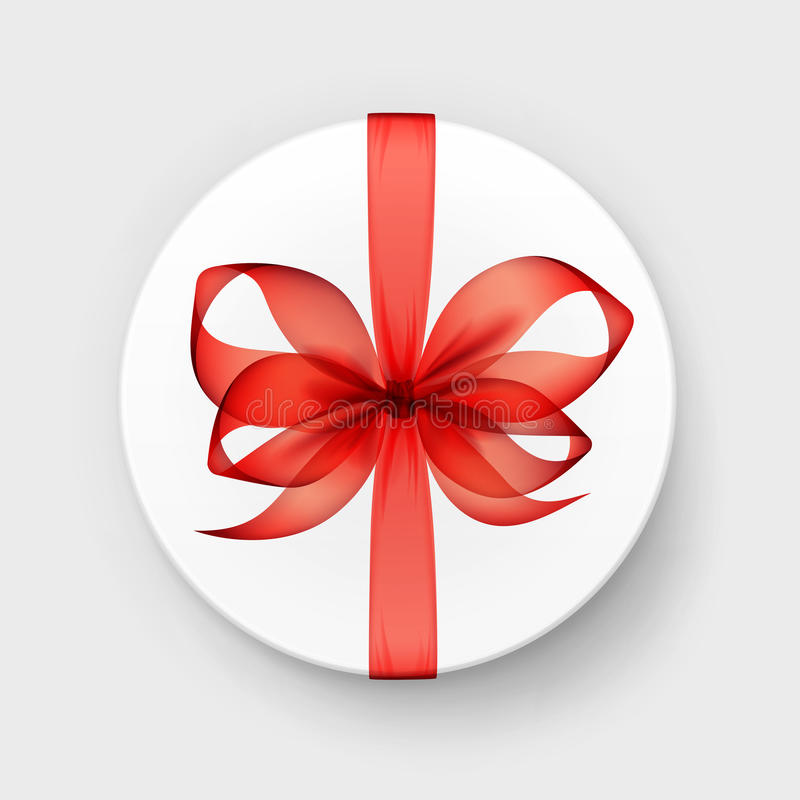 Gift Box with Red Scarlet Bow and Ribbon. Vector White Round Gift Box with Transparent Red Scarlet Bow and Ribbon Top View Close up on Background vector illustration