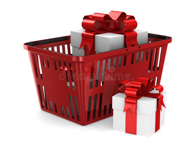 gift box in red shopping basket on white background. Isolated 3d illustration royalty free illustration