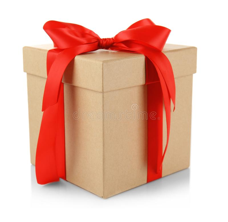 Gift box with ribbon bow stock photography