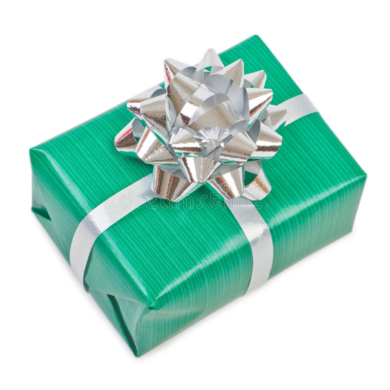 Gift box with ribbon bow stock photo
