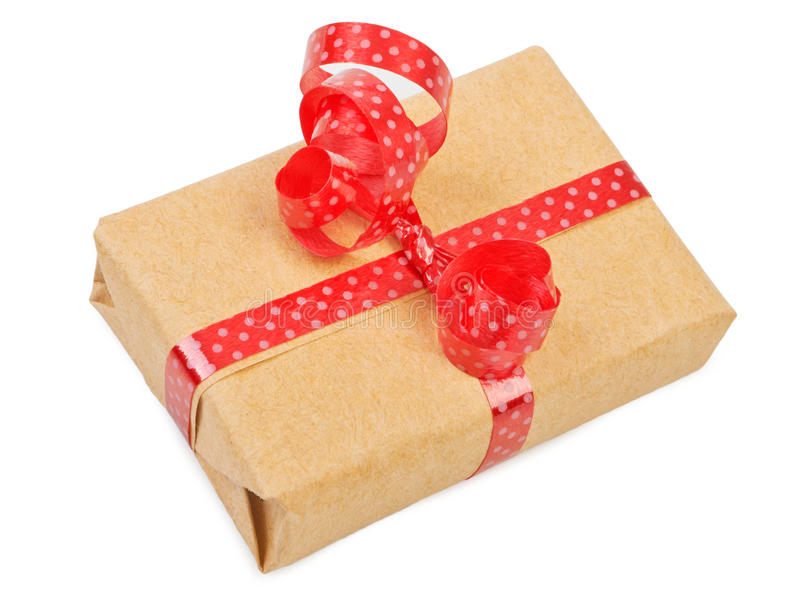 Gift box with ribbon bow stock photos
