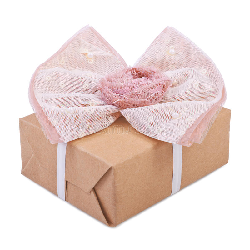 Gift box with ribbon bow. Isolated on white stock photo