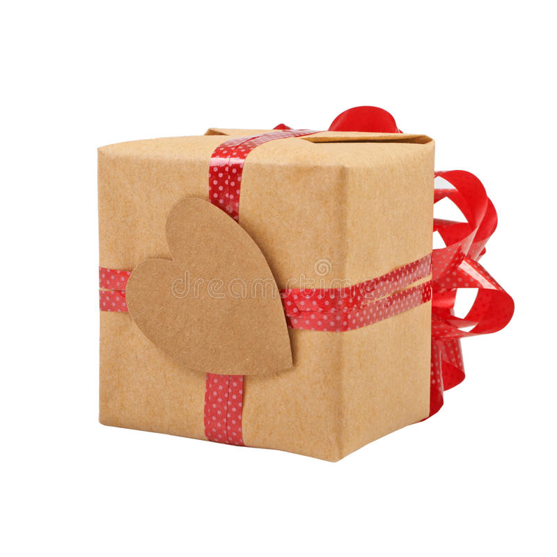 Gift box with ribbon bow royalty free stock photos
