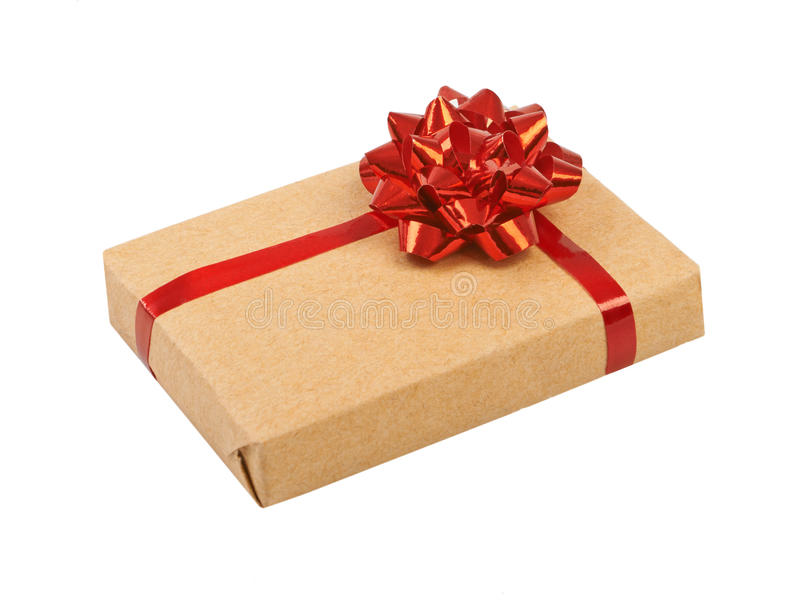 Gift box with ribbon bow royalty free stock photography