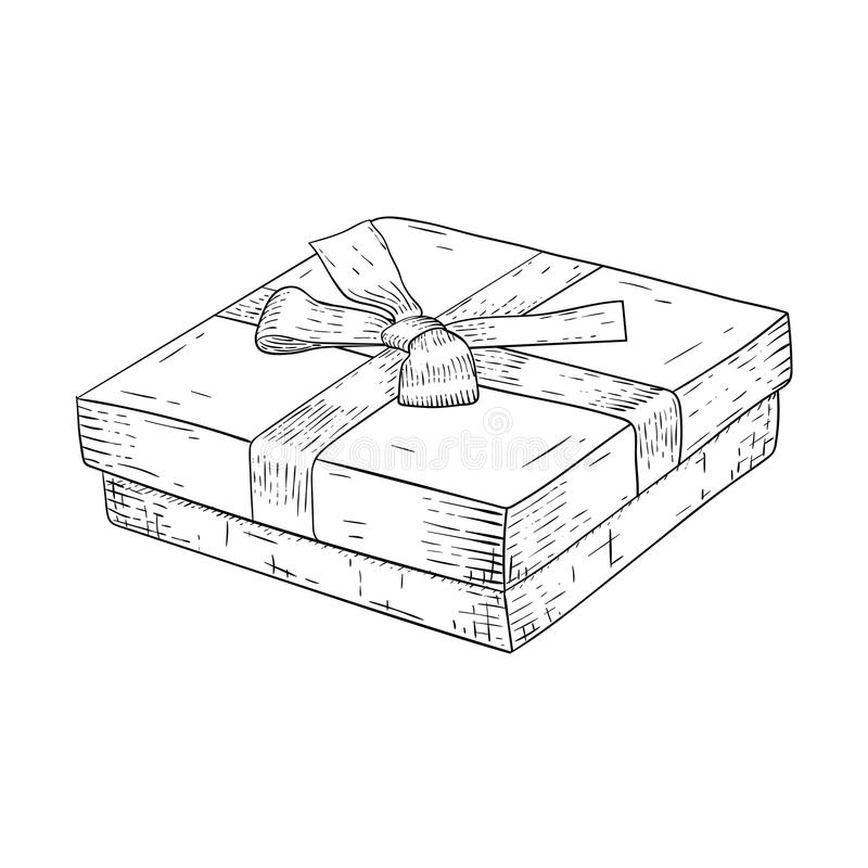 Gift Box With Ribbon Bow. Jewelry Box. Hand Drawn Sketch ...