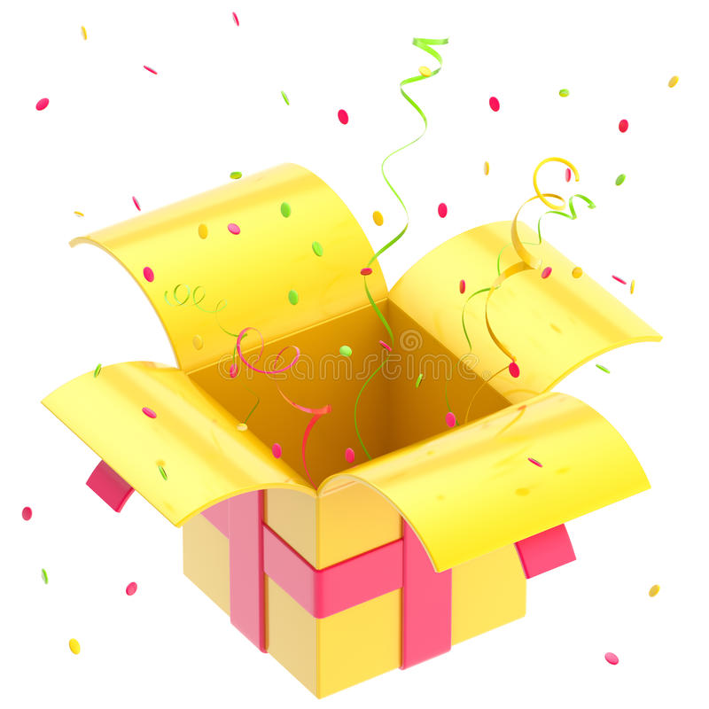 Download Gift Box With Ribbon, Confetti Isolated Stock Photography - Image: 24683882