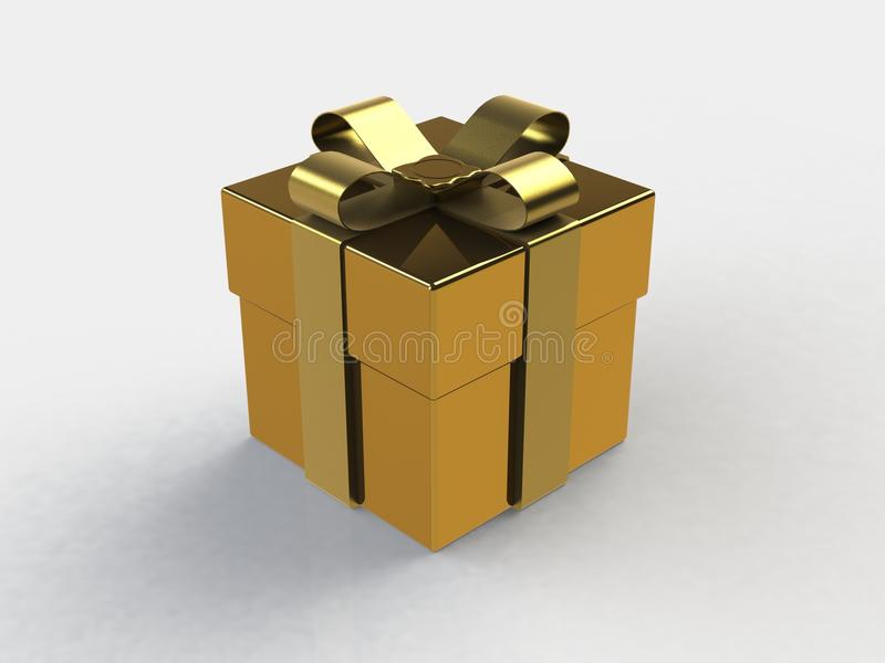 Gift box, with ribbon like a present over white background royalty free illustration