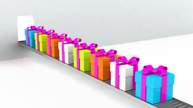 Gift box, with ribbon like a present. over white background royalty free illustration