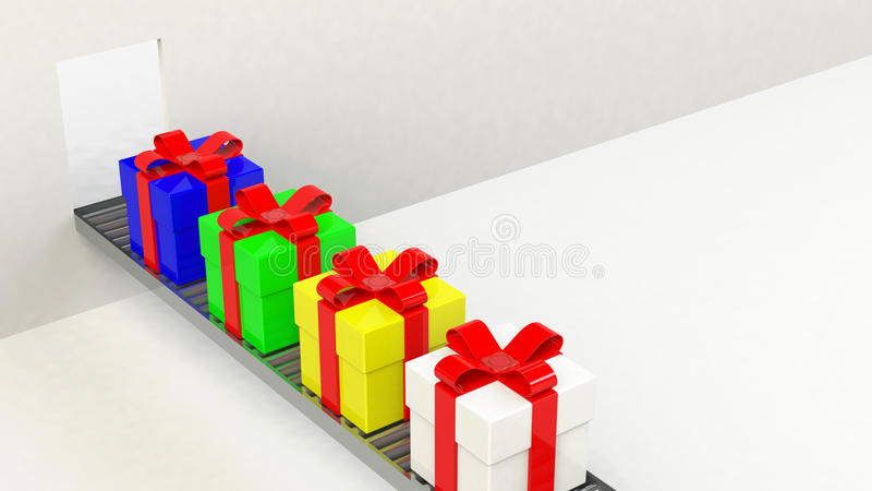 Gift box, with ribbon like a present. over white background stock illustration