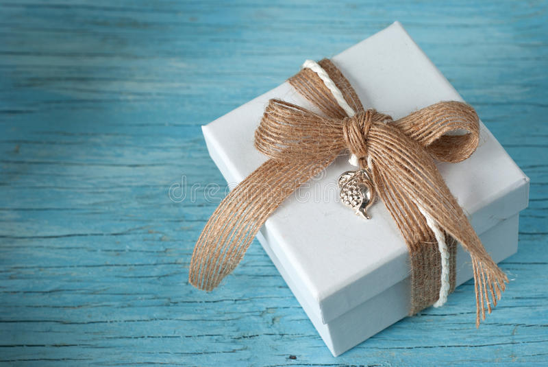 Gift box with ribbon royalty free stock image