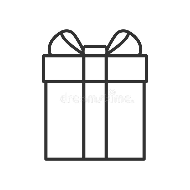 Gift Box with Ribbon Outline Icon on White vector illustration