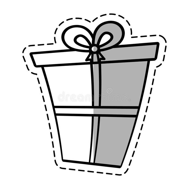 Gift Box Ribbon Package Decor Linea Shadow Stock Illustration ...