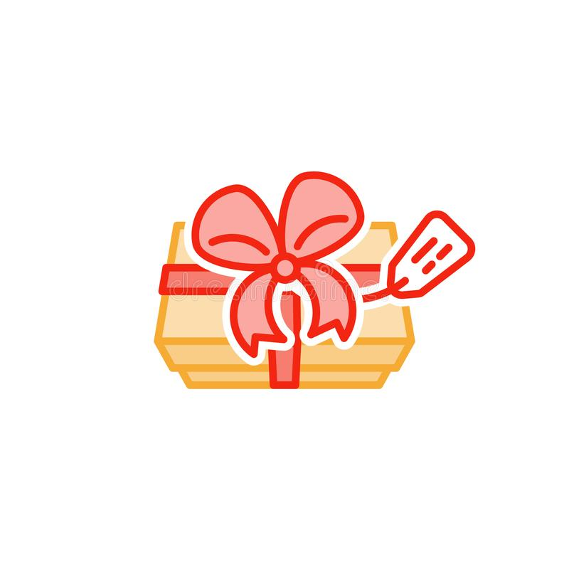 Special present from above, gift box and ribbon, awaiting to be opened, line icon. Gift box with ribbon and tag label, top view, elegant present for special vector illustration
