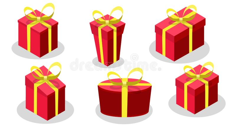 Gift box set with red color Yellow bow and ribbon isolated on white background stock illustration