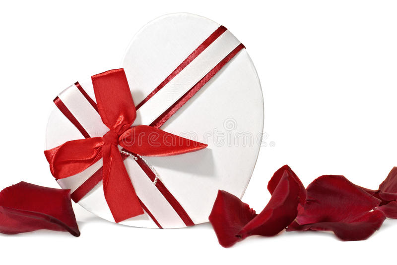 Gift Box In Shape Heart Stock Photos