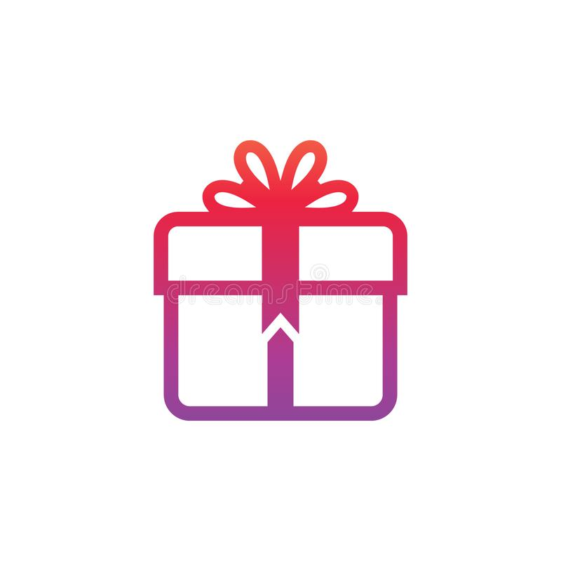 Gift box sign line icon design template element.  royalty free illustration