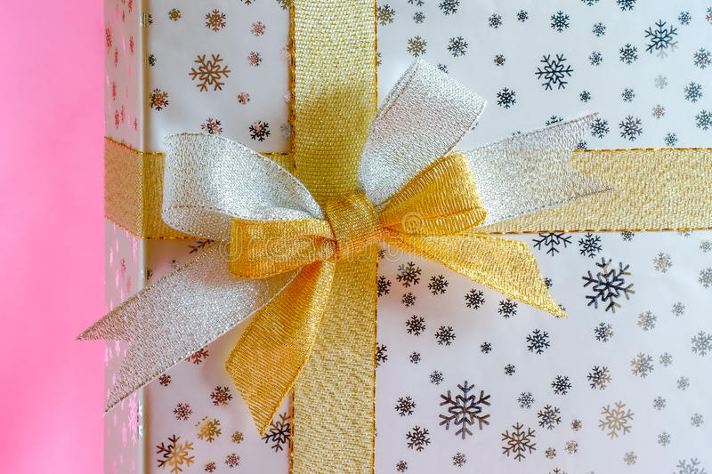 Gift box silver and gold ribbon royalty free stock photo