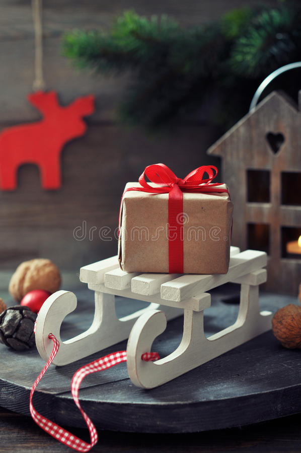 Gift Box On Sled Royalty Free Stock Photography