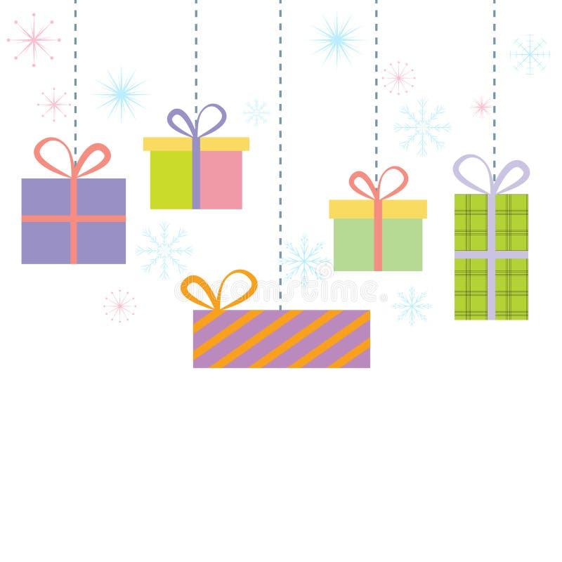 Gift box snowflakes white background stock photos